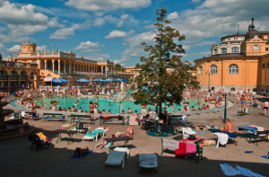 Hundreds in the 18 Pools in Szechenyi Baths