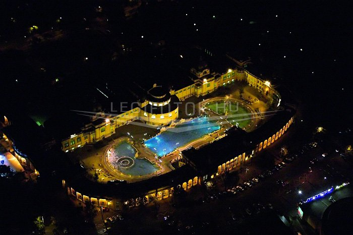 Szechenyi Bath by Night Aerial Photo