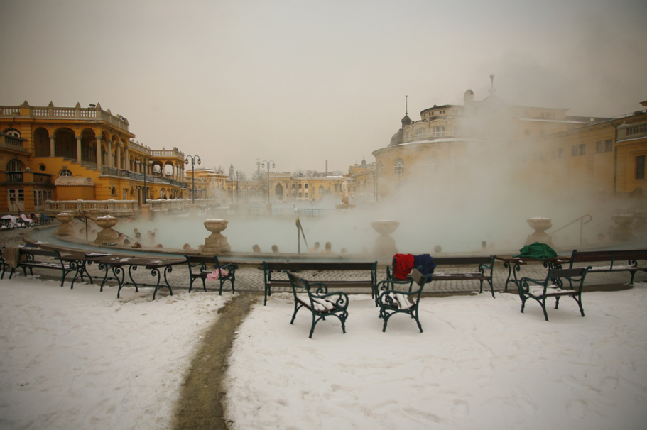 Szechenyi Baths Warm Outdoor Pools in Winter - photo James Guppy