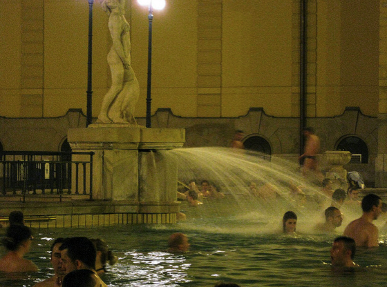 Szechenyi Baths and Pool open air pools with fountains and jets