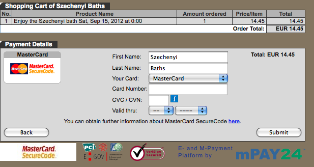 credit card details szechenyi online ticket