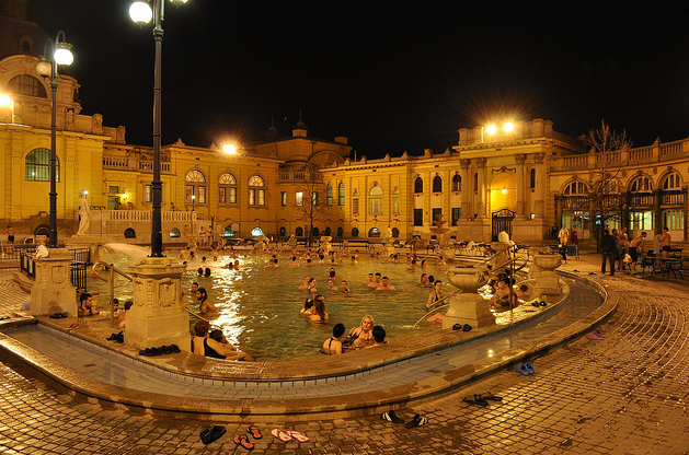 Szechenyi Baths Budapest Night Pools