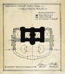Expansion Plans of Szechenyi Bath Budapest 1927 Solid Black Original Building