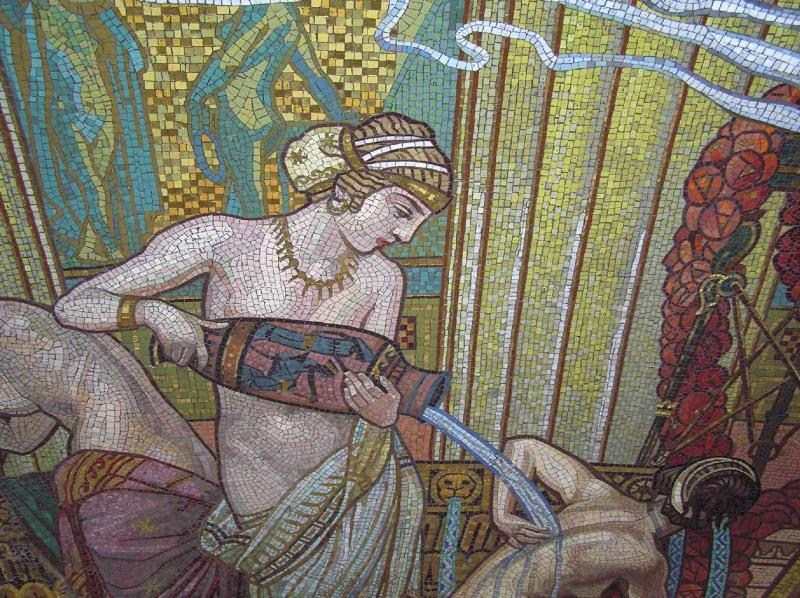 Water in Ancient Greece Mosaic Miksa Roth Szechenyi Bath